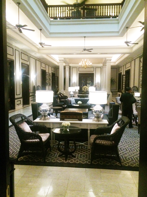 The lobby of the renovated Colonial-era Strand Hotel