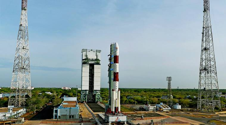 Sriharikota: ISRO's PSLV-C38 at the first launch pad in Sriharikota. The Indian space agency launched earth observation satellite Cartosat-2 Series along with 30 co-passenger satellites of various countries on Friday. (PTI Photo/ISRO)