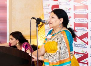 IACF Board Director Rathna Kumar emceed the grant awards event held at Madras Pavilion restaurant in Sugar Land