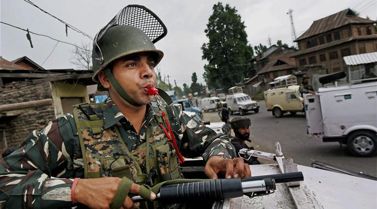 Security personnel keep vigil at the site of the attack on Amarnath Yatris at Batango in Anantnag district of South Kashmir. (PTI Photo/File)