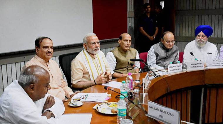 New Delhi: Prime Minister Narendra Modi, Home Minister Rajnath Singh,Finance Minister Arun Jaitley, Parliamentary Affairs Ministers Ananth Kumar and SS Ahluwalia with Former Prime Minister and JD(S) President H. D. Deve Gowda during an all-party meeting ahead of monsoon session of Parliament,  in New Delhi on Sunday. PTI Photo by Subhav Shukla(PTI7_16_2017_000023B)