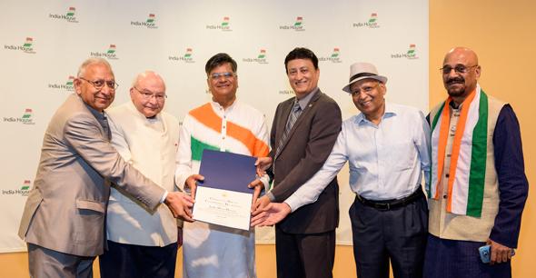 From left: Dr. Durga Agrawal, Dr. Virendra Mathur, Jugal Malani, Sam Merchant, Anil Aggarwal, Vipin Kumar at India House on August 15.
