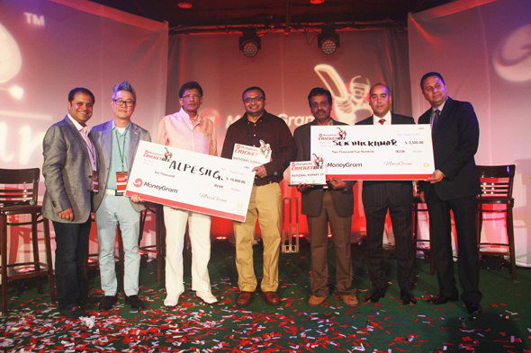 Rahul Walia, Founder of MoneyGram Cricket Bee, Jay Kim, Managing Director of Aaaza, HR Shah, CEO of TV Asia, Aplesh Gohil, National Champion, Senthilkumar Sethuraman, National 1st Runner Up, Johnny Rosario, Head of Account Management of MoneyGram and Lael Daniel, Corridor Development Manager of MoneyGram