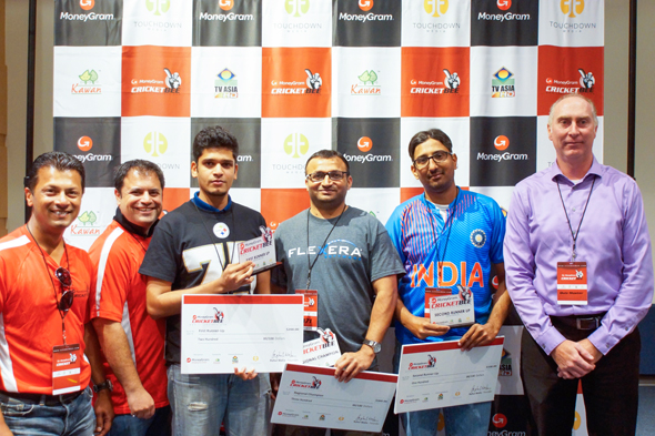Chicago: Rahul Walia, Founder of MoneyGram Cricket Bee, Kevin Paul  (First Runner Up), Alpesh Gohil (Regional Champion), Sohail Malik (Second Runner Up), and Julian Callachor, Chicago Quizmaster