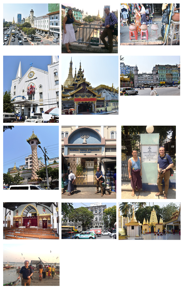 From left: Cars clog up the intersection of Sule Pagoda Road and Anawrahta Road, Sule Pagoda from the elevated walkway at Anawrahta Road, Water-filled Clay bowls are very common across Rangoon, offering a free with a steel mug of cold water to anyone, The Immanuel Baptist Church (opened 1885) across from City Hall. The Buddhist shrine at the 2,500 year-old Sule Pagoda across from City Hall, The Bengali Sunni Mosque behind the Sule Pagoda Buddhist shrine, The Maha Theindawgyi Buddhist temple, established in 1854, The Musmeah Yeshua Synagogue (consecrated in 1896) in the downtown area, With the caretaker of the Armenian Apostle Church, consecrated in 1863, The inside of the Armenian Apostle Church, The long-shuttered 1940's era Gandhi Hall building on Merchant Street, Smaller shrine at the 2,500 year-old Botahtaung Pagoda complex by the YangonRiver, By the pier behind the Botahtaung Pagoda complex.