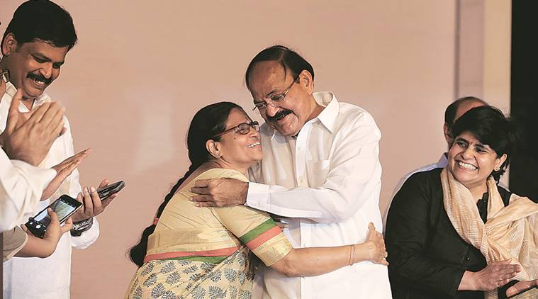 Venkaiah Naidu with his wife Usha and daughter Deepa Venkat after he was declared elected on Saturday evening. (Source: Express Photo/Renuka Puri)