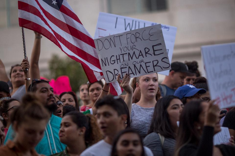 LOS ANGELES, CA - SEPTEMBER 05: Immigrants and supporters rally and march in opposition to the President Trump order to end DACA, on September 5, 2017 in Los Angeles, United States. (Photo by David McNew/Getty Images)