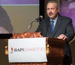 Keynote Speaker Dr. Carlos Cardenas MD TMA president kicks off the BAPS Charities Health Fair.