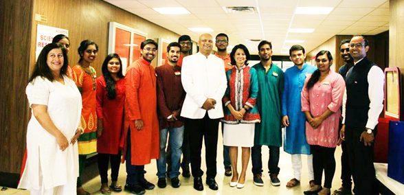Dr Anupam Ray and Dr Renu Khator with GISO Team. From left: Aparna, Suma, Niharika, Sindhur, GISO President Ravi, Kaushik, Consul General Dr. Anupam Ray, Baala, Chancellor of the University of Houston SystemDr Renu Khator, Abhinay, Harsh, Sarah, Vishal, Deputy Consul General Surendra Adhana.