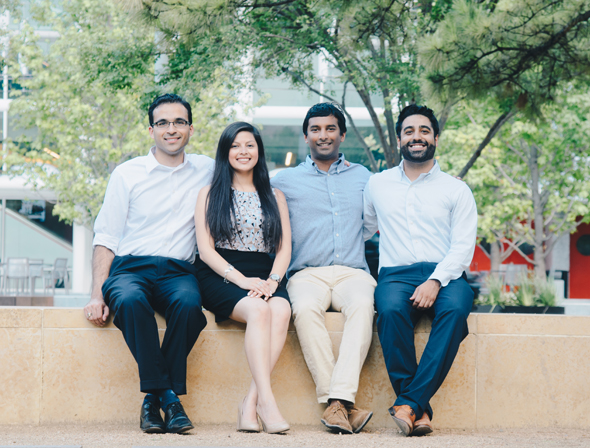 The One Jump Founders, from left: Neeraj Salhotra, Juanita Parra, Karthik Soora, and Shiroy Aspandiar