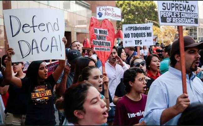 People in the US are widely protesting President Trump's repeal of the DACA program (Reuters)