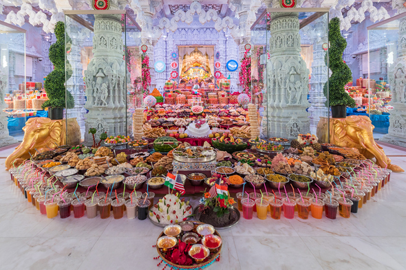 Grand Annakut on New Years at the BAPS Shri Swaminarayan Mandir.