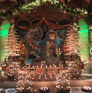 Candlelight Aarti at Sri Sri Radha Nilamadhava altar.