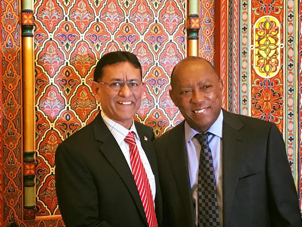 SIMA President Hasu Patel with Mayor Sylvester Turner.