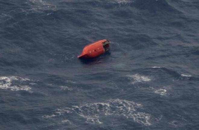 This photo provided by the 11th Regional Coast Guard Headquarters shows a damaged lifeboat, which is believed to be of the Emerald Star near its sinking site, off the Philippines' eastern coast on Oct. 13, 2017.
