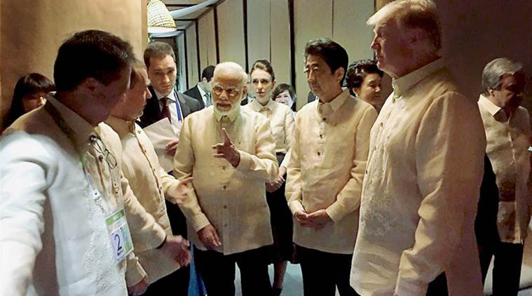 Prime Minister Narendra Modi with US President Donald Trump, Japanese Prime Shinzo Abe and other world leaders at an ASEAN Summit dinner in Manila on Sunday. (PTI Photo)