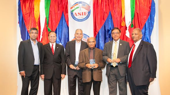 ASIE Board Member Madhu Kilambi (left), ASIE President Dinesh D. Shah, ASIE Class of 2017 award recipients Harish Jajoo, Rashmi Desai, and Ramesh Maini, and ASIE Life Time Member Ben Bansal at the annual holiday event on Saturday, November 11, at India House.