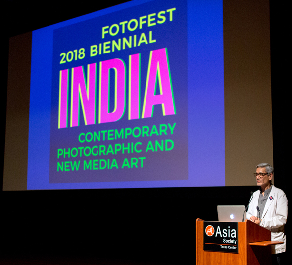 The lead curator for FotoFest 2018 Biennial on India is Sunil Gupta, who made a presentation at Asia Society about the upcoming exhibit. Photo: Os Galindo.