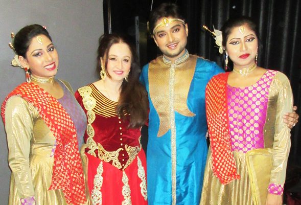 Backstage after the performance, from left, Arshia Rosaleen, Keka Kar, Shouvik Chakraborty and Madhuka Dutta. Photos: Jawahar Malhotra