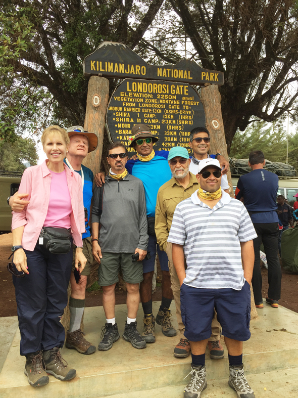 The group at the base of the National Park before going on their trek to the summit.