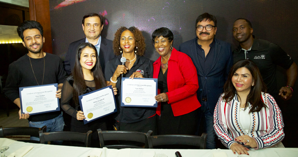Neha, Sony & Tony Kakkar being felicitated by the Houston City officials.