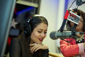 Neha Kakkar at the Radio Dabang studio, chatting live with the listeners.