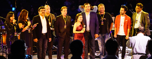 The organizers and sponsors being recognized during the show.