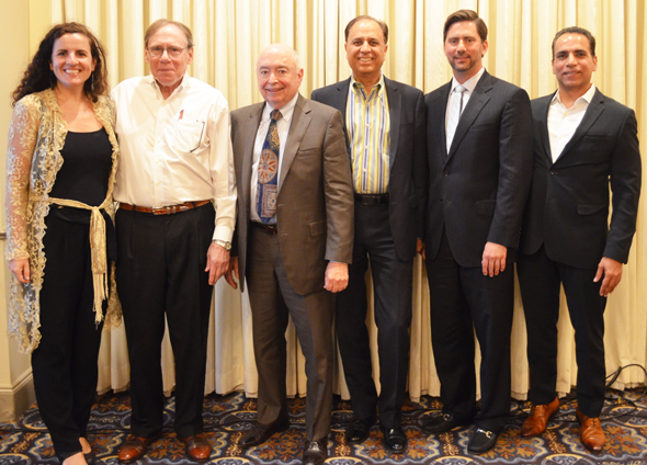 From left: Juliana Garaizar - Managing Director, Houston Angel Network, Howard Rambin - CEO & Founder, Moody Rambin, Leo Womack - President, Gulf Equities Realty Corp., Dr. Arun Pasrija - TiE Houston President, Ricardo Rivas - Principal and Chief Investment Officer, Allied Orion Group, and Jiten Karnani- President, Deccan Development Company.