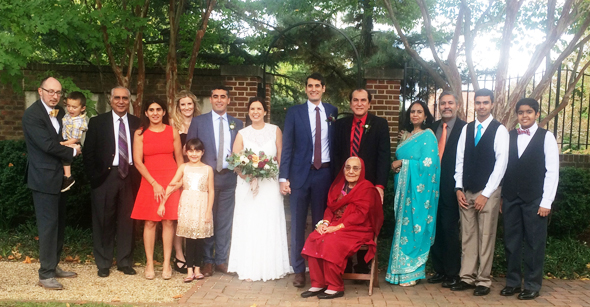 The Malhotra family and relatives with the bride and groom, from left: from the Chicago area: Daniel Murphy (holding son Shiva); Dr. Jayant Malhotra, the groom's uncle, his daughter Meena Murphy and daughter Shashi Nila; from Houston: Alexandra Shepherd and fiancé of Stefan Malhotra, the groom's older brother; the bride and groom; the groom's father Jawahar Malhotra and grandmother Shakuntla Malhotra, seated; and from Frederick, Maryland, the groom's cousins Pam Jaggi, husband Rajiv Jaggi and sons Tanay and Rohan