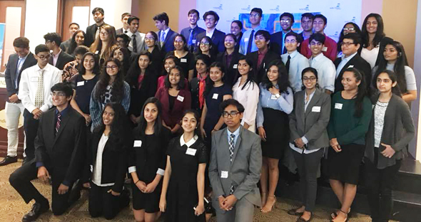 YLDP Houston students with Dr. Latha Ramchand, Dean and Professor of Finance at the C.T. Bauer College of Business at the University of Houston