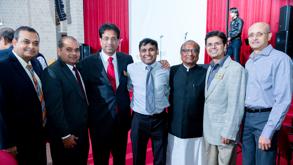 After the show ended, from left, Dr. Manish Gandhi, Dr. Subodh Chauhan, Dr. Ravi Chandru, Dr. Prasun Jalal, K.C. Mehta with other members of the Indian Doctors Association. Photos: Roy Photography