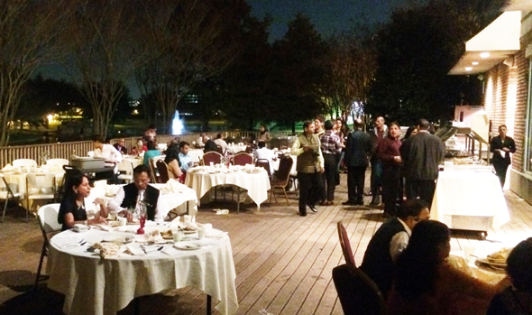 The Kavi Sammelan started with dinner on the outdoor deck at Madras Pavilion under a moonlit night.