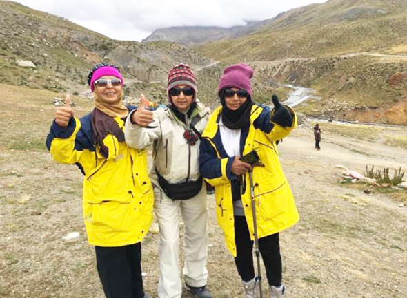 The three ladies (from left) Usha Tewari, Asha Jain, Raju Nandagiri at Dronga after completing Parikrama of Mount Kailash (height 18,750ft) on September 16.