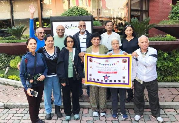 The Daring and Dauntless at the start of their journey at the Radisson, Kathmandu on September 6. From left, rear Arun Tewari, R. K. Iyer, Narayana Ponnada, Showri Nandagiri and Asha Jain. Front from left, Usha Tewari, Nutan Iyer, Lakshmi Narayana, Raju Nandagiri, Kumari Susarla, Mallik Putcha