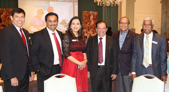 From left: Asheet Yagnik, Pratham Houston Board member; Pankaj Dhume; Asha Dhume, President Elect, Pratham Houston; Harish Katharani; Madhusudan Desai; Swatantra Jain, Treasurer & National Board member, Pratham USA.