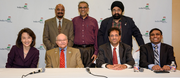 Panelists with Organizers. Seated, from left: Dr. Sheila Heinle, Dr. Virendra Mathur, Dr. Atasu Nayak, Dr. Prasun Jalal. Standing, from left: Col. Vipin Kumar, Swapan Dhairyawan, Jagdip Ahluwalia at the Heart Health Symposium event at India House on Sunday, December 3.