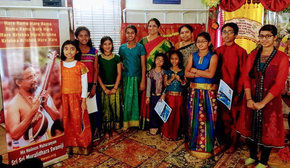 Madhurageetham devotional music competition winners with the judges.
