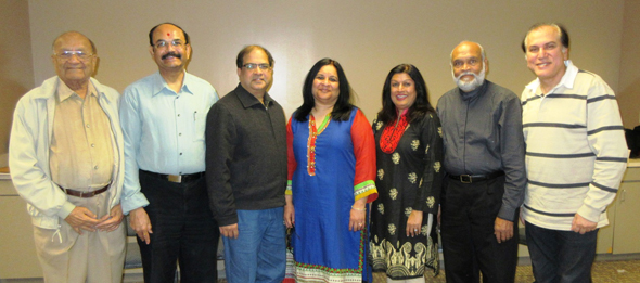 After the election held on Sunday, January 7 at India House with Election Committee Commissioners Jawahar Malhotra (right) and Girish Pandya (left) are the 2018 ICC Executive Committee from left, Hemant Patel, Treasurer; Pramod Bengani, Vice-President; Nisha Mirani, President; outgoing President Falguni Gandhi and Ajit Patel, Secretary.