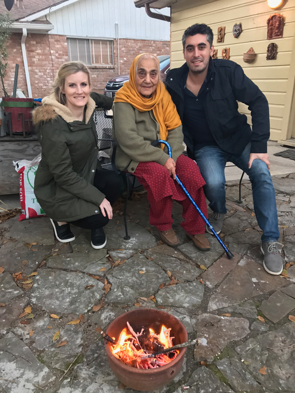 Shakuntla Malhotra, who writes the Mama's Punjabi Recipes column, shares homemade popcorn and gur to toss into the bonfire lohri with her eldest grandson Sanjay Stefan and his fiancé Alexandra Shepherd