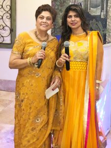 Neelu Sharma (left), who has successfully emceed many PCC events over the last three decades, along with her daughter and co-emcee,Dr. Namrata Sharma Goel.