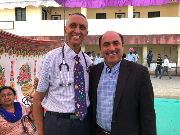 Dr. Randeep Suneja (right) with the medical camp organizer Dr. Nitin Shah, anesthesiologist from Los Angeles