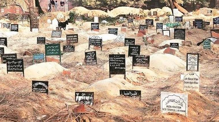 At the Batla House Qabristan, new graves are dug over old ones due to lack of space (Express Photo by Gajendra Yadav)