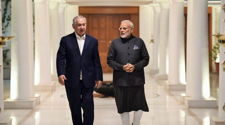PM Narendra Modi with Israeli counterpart Benjamin Netanyahu at his 7 Lok Kalyan Marg residence