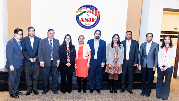 Honorable Guest Dr. Daniel Wong (left), TBPE Chairman and Former Sugar Land Councilman conducted the swearing-in ceremony for the ASIE 2018 board members: (L-R) Sekhar Ambadapudi, Avinash Patel, Archana Sharma, Tej Kour, Apoorv Kumar, Chaitanya Gampa (Sec), Sirish Madichetti (Tr), Showri Nandagiri (VP) and Sai Gowthami Asam (Pr). Photos: Navin Mediwala