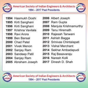 Banner showing the list of past presidents was unveiled by ASIE 2018 President Sai Gowthami Asam with a surprise addition of Outgoing President Dinesh D. Shah.