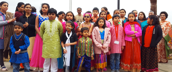 DAV Montessori and Sanskriti School children singing Vande Mataram