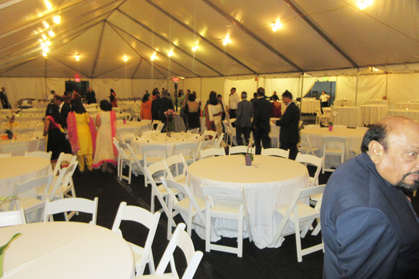 The tent in the back parking lot of the Consulate where dinner was served
