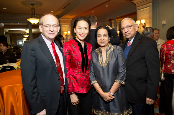 Rice University president Dr. David Leebron & Y. Ping Sun, Durga & Sushila Agrawal