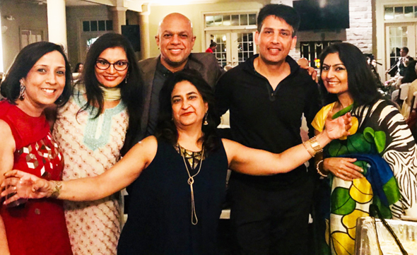 The organizers with promoter Rashmi Gupta (center); from left, Rita Saaraf, Kokie Patel, Sudarshan, Vinay Sharma and Niti Mohan, the emcee.
