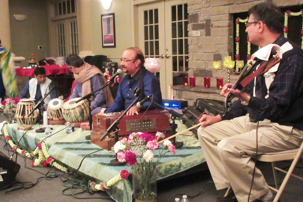 The performers on the low dais in the Auburn Lakes Clubhouse last Saturday, February 3
